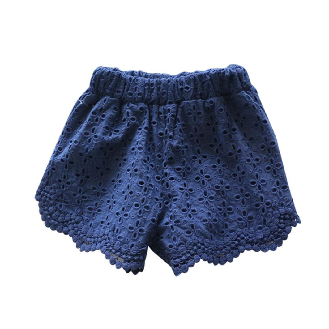 2-3years, Dark Blue Girls Short Pants For 1-5 Years,Internet Newborn Toddler Baby Summer Children Girl Kids Hollow Lace Floral Cotton Beach Shorts Pant Rabbit Ear Heart Strap Casual Dress Clothes