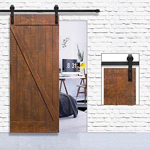 Homlux Heavy Duty Sturdy Sliding Barn Door Hardware Kit 6ft One Door - Super Smoothly and Quietly - Simple and Easy to Install - Fit 1 3/8-1 3/4'' thickness door panel(Black)(J Shape Hangers) by Homlux