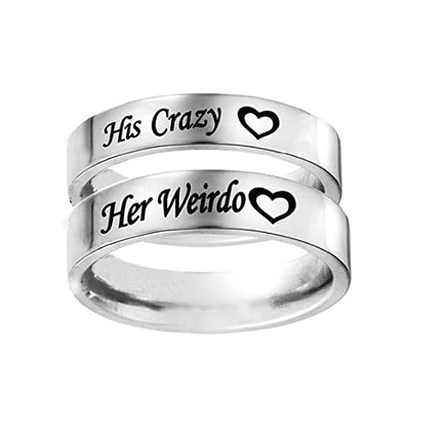 da35f30eb0 Bishilin 2 Pieces Couple Rings Stainless Steel High Gloss Polished with Engraving  Her Weirdo His Crazy Width 6MM Wedding Engagement Silver Women Size 10 ...