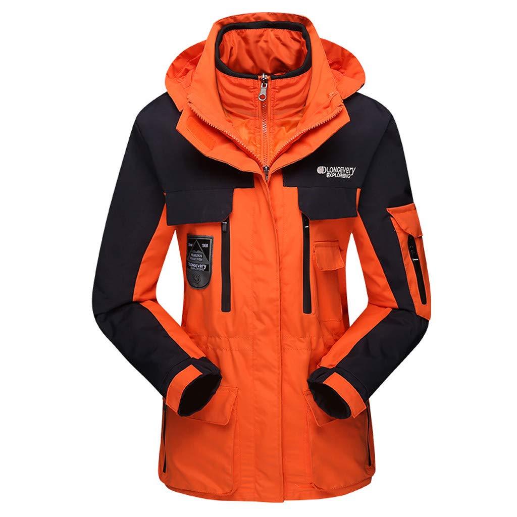 Fitfulvan Men Women Couple Waterproof Rain Jacket Lightweight Outdoor Raincoat Hooded for Hiking Orange