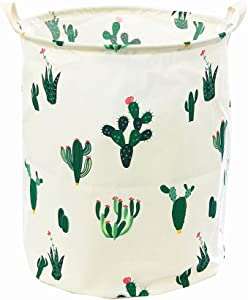 "TIBAOLOVER 19.7"" Large Sized Waterproof Foldable Canvas Laundry Hamper Bucket for Storage Bin,Kids Room,Home Organizer,Nursery Storage,Baby Hamper with Cactus Design(Green/Red)"