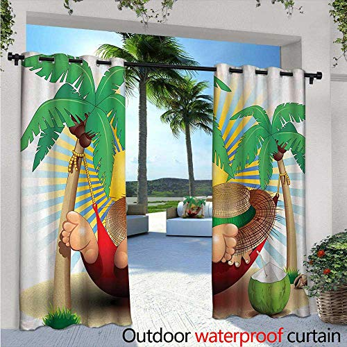 Paradise Quilted Hammock - Holiday Fashions Drape W84 x L96 Cute Illustration Relax Exotic Summer Holidays on Hammock Theme Hot Paradise Lands Outdoor Curtain Waterproof Rustproof Grommet Drape Multicolor