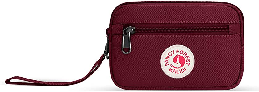 KALIDI Small Mini Clutch Hand Bag Coin Money Purse Wallet with Zipper and Wrist Strap Fits up to iPhone 7,8 Plus,iPhoneX Plus,Burgundy