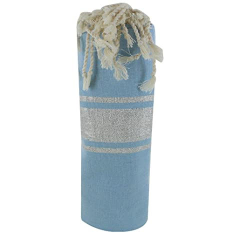 LES POULETTES FUTA Toalla de Playa Algodón Azul Cielo y Rayas Lurex Plata 100 x 200cm