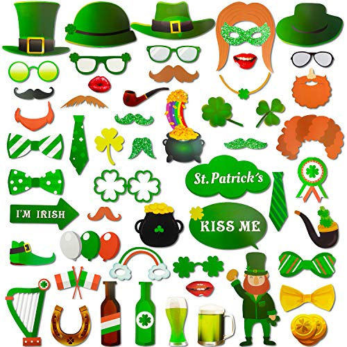 Zhanmai 55 Pieces St Patrick's Day Photo Props Shamrock DIY Booth Props for Irish Party Decoration Supplies -