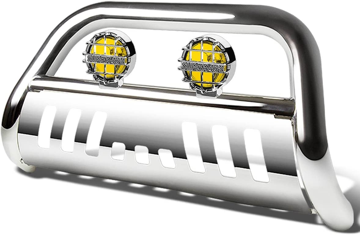 For Dodge Ram BR//BE 3 inches Chrome Bull Bar+6 inches Chrome Housing Smoked Lens Fog Lights