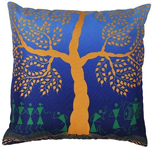 SouvNear Throw Pillow Cover - Warli Tribal Art - Throw Pillow Covers 18x18 Inch Cushion Cover with Zipper - Decorative Blue Mustard Green Throw Pillows