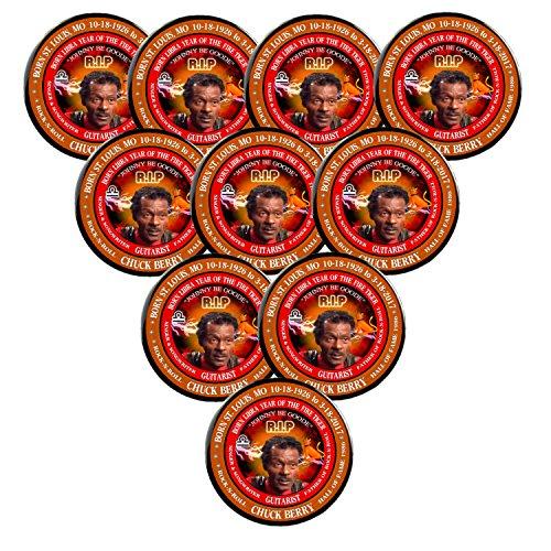 Chuck Berry RIP Rock-N-Roll Memorial Button-Magnet Born Libra Fire Tiger(2.25