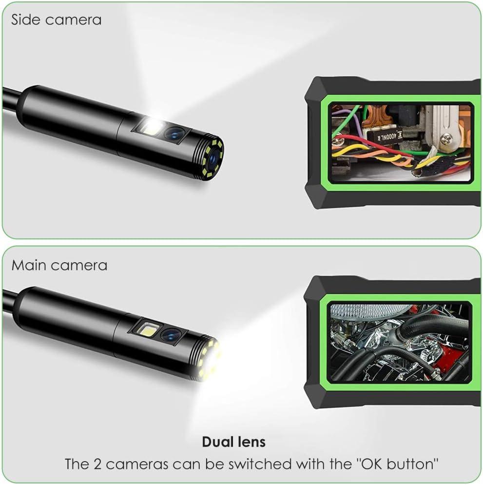 GJCrafts Endoscopio de Doble Lente 8 Luces LED Ajustables Lente Dual 1080P C/ámara de endoscopio HD con Cable de 5 m Bater/ía de 3000 mAh para reparaci/ón de autom/óviles de inspecci/ón de plomer/ía