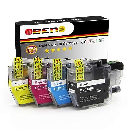 OBENO - 1 Set - LC3213 Paquete de 4 cartuchos de tinta Compatibles para Brother LC3211 MFC-J890DW, MFC-J895DW, DCP-J772DW, DCP-J774DW, DCP-J572DW (1 ...