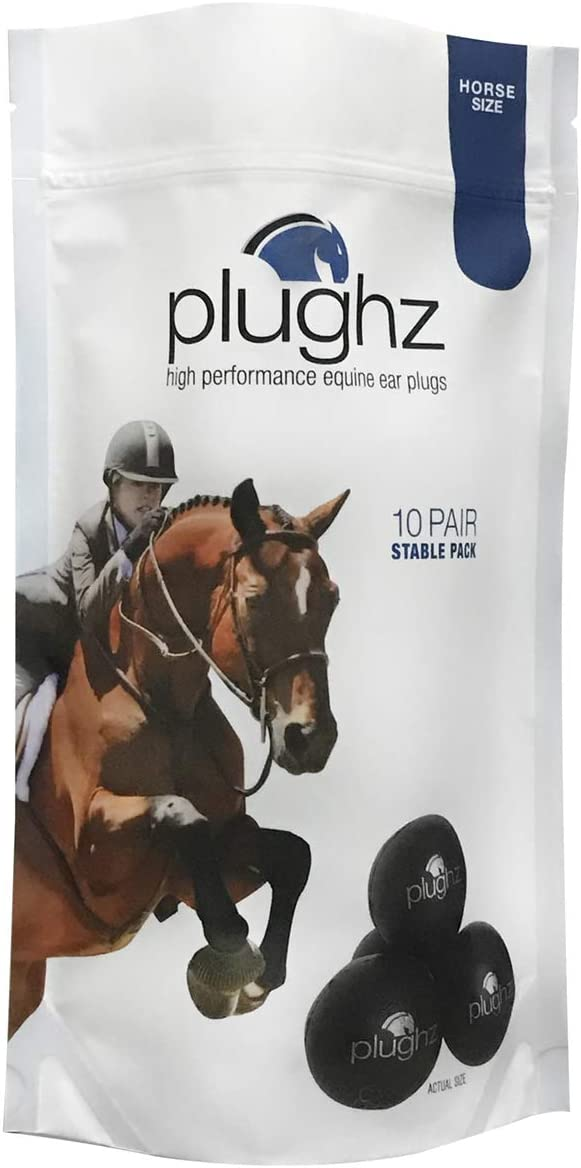 Horse Ear Plugs by Pomms Equestrian Horse Size ONE PAIR Black in Color Soft