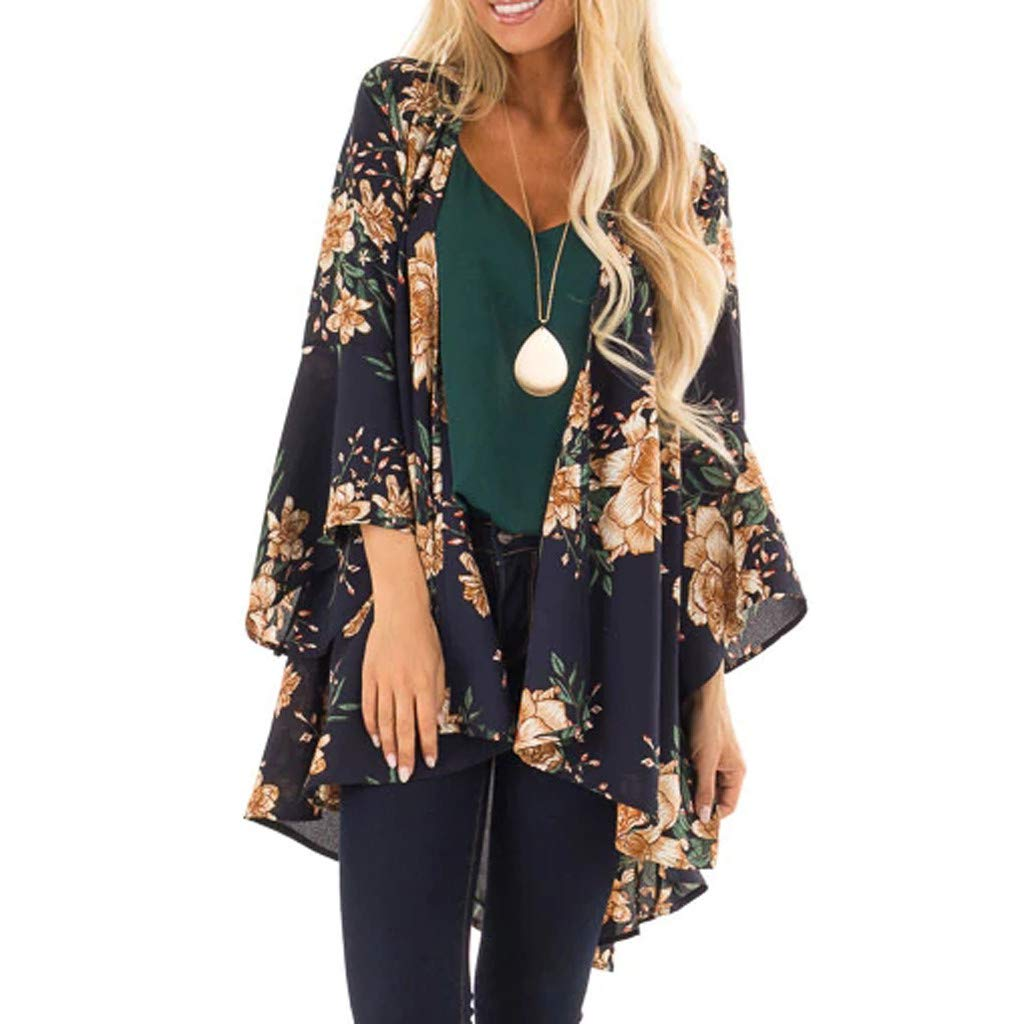 Fashion Womens Printing Long Sleeve Cardigan for Women Fashion T-Shirt Knitted Print Tops Coat (Dark Blue,S)
