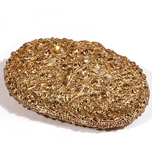 Circular leaf Colourful Digabi Clutch Crystal Women Pattern Evening Bags Gold wOgnAqUfA