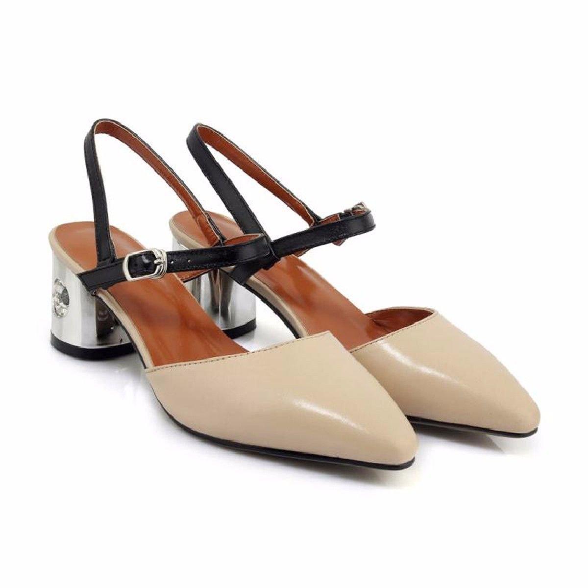 KPHY Baotou Sandalen Sommer Mode Wild und Rau Spitze Angeschnallt Leer Damenschuhe.