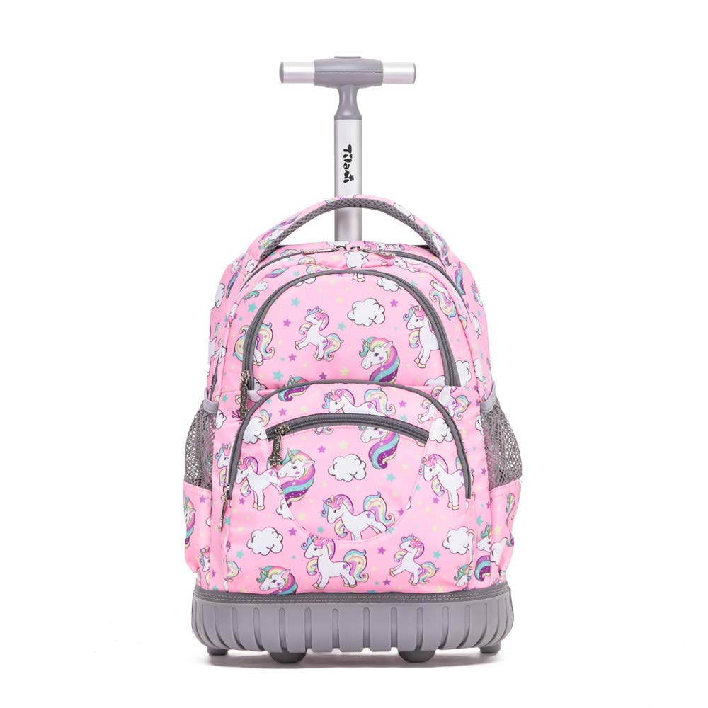 Tilami Rolling Backpack 16 Inch School College Travel Carry-on Backpack Boys Girls (Pink Unicorn) by Tilami