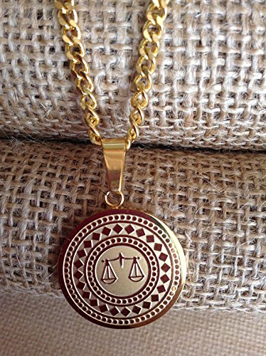 Gold Plated Scales of Justice Necklace - Lawyer, Paralegal - Chain 26