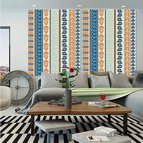 SoSung Tibal Wall Mural,Aztec Ancient Vintage Ethnic Pattern with Native American Folk Figures Artisan Art,Self-Adhesive Large Wallpaper for Home Decor 55x78 inches,Merigold Blue