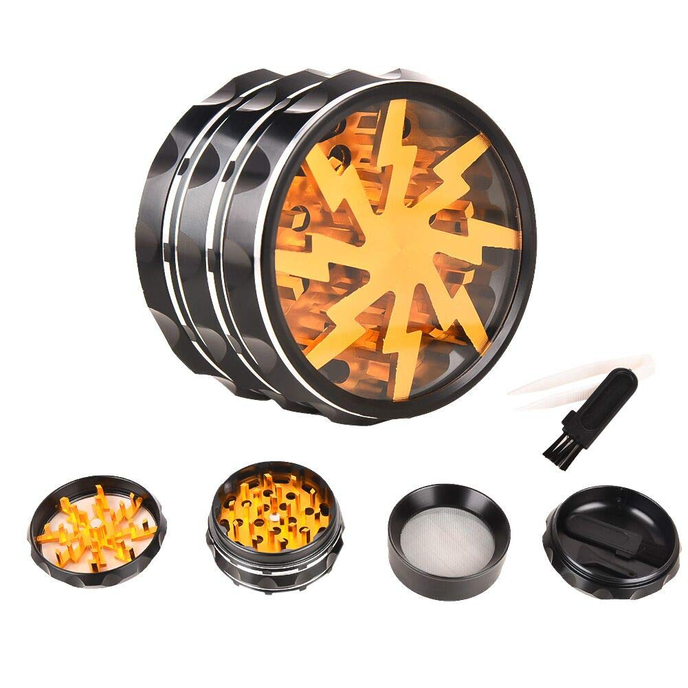 Spice Herb Grinder, 4 Piece 2.5-Inch Weed Grinder, Herb and Spice Kitchen Grinder with Pollen Catcher and Easy Access Window, Razor-Sharp Teeth by Youthgo (Image #1)