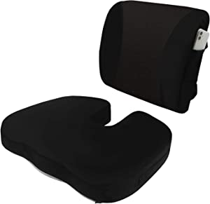 HST Seat Cushion & Lumbar Coccyx Orthopedic Memory Foam,Support for Office Chair,Car and Wheelchair,Washable Covers