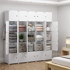 YOZO Portable Closet Wardrobe Modular Dresser Chest Drawer Cube Storage Organizer Ployresin Clothes Shelving Unit Multifunction Toy Cabinet Bookshelf DIY Furniture, White, 25 Cubes