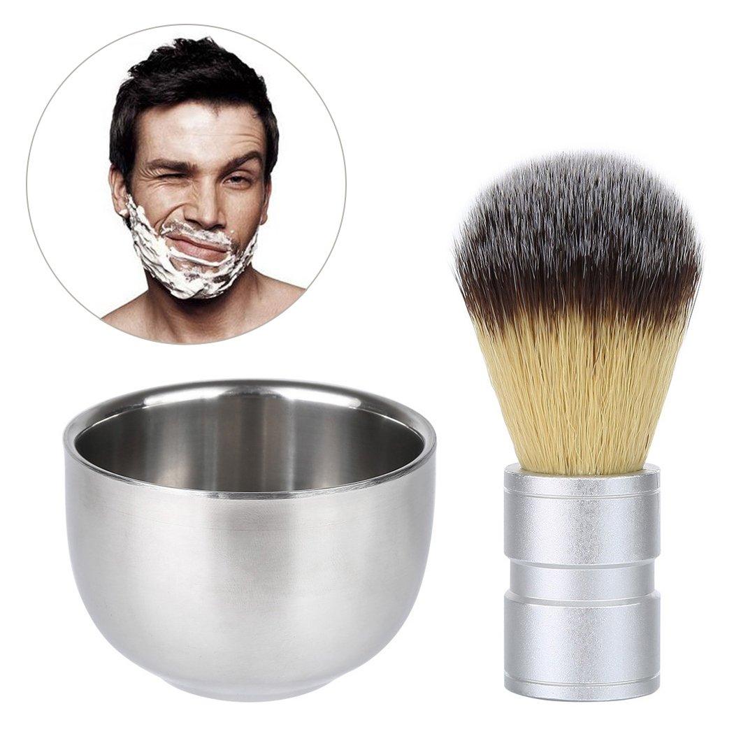 Brocha de Afeitar con cuenco de acero inoxidable de doble capa Afeita Taza 9, 5cm Pelo de tejón mioim DEHAZ*2166061