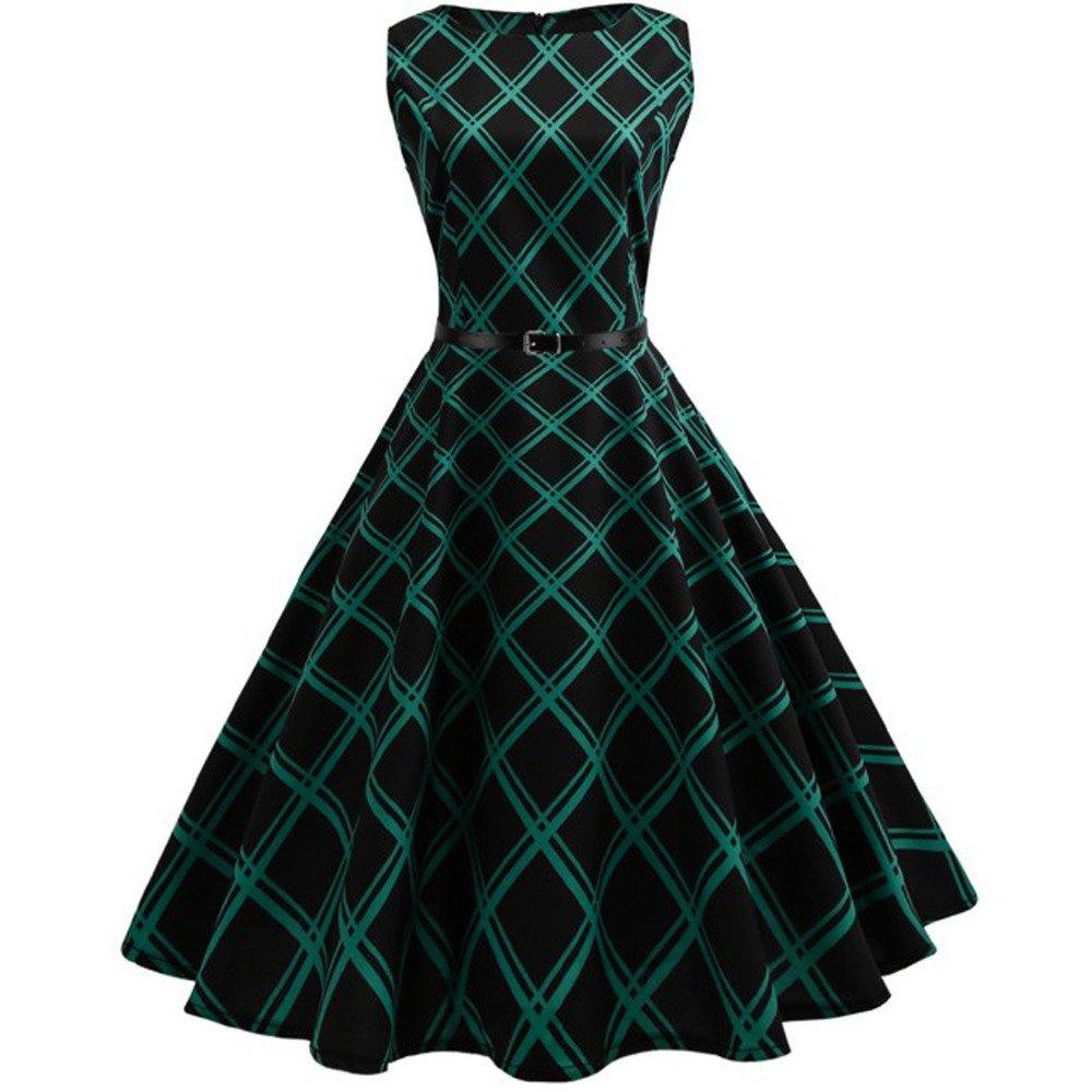 Clearance! 50S 60S Vintage Dresses Sleeveless for Women Plaid Print Casual Pleated Belt Prom Swing Dresses for Summer Wugeshangmao