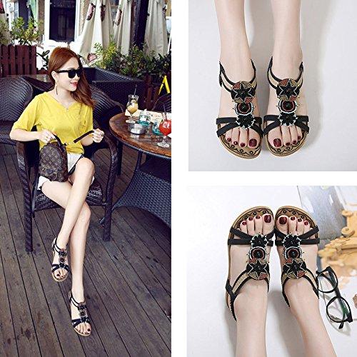 La Chaussures Mesdames Bride Bohème Chaussures Été Womens Flip Style Black Cheville Sandales Open à Plage Thong Plates Toe Hope Flop Yf8q1wv1