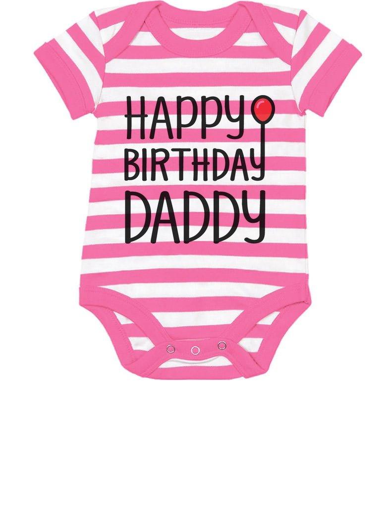 Tstars TeeStars - Happy Birthday Daddy Cute Boy/Girl Infant Dad's Gift Baby Bodysuit 12M Pink/White