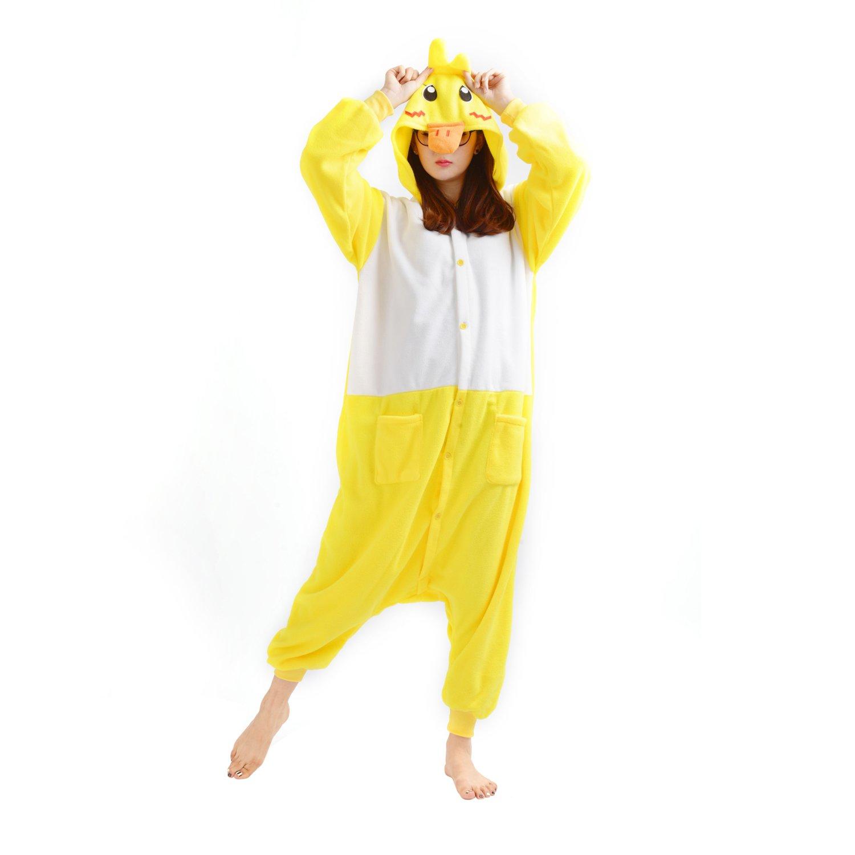Casa Adult Anime Sleepsuit Pajamas Costume Animal Onesie Duck Cosplay Size S Yellow
