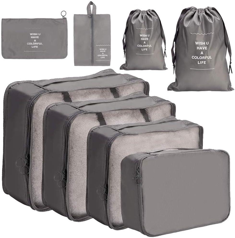 Organizador de Equipaje 8 en 1 Set Organizador de Maletas Impermeable Viaje con Bolsa de Zapato, Material Nylon-Meowoo (Gris)