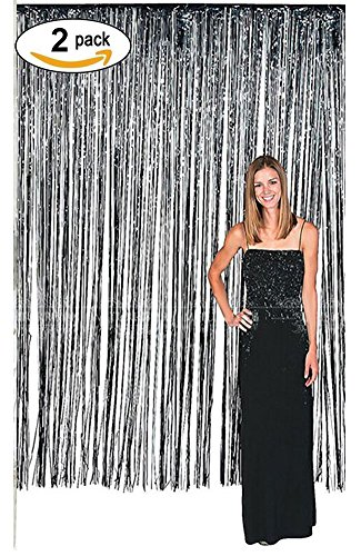 Langxun 3 ft x 8 ft Silver Foil Fringe Curtains | Photo Booth Background for Party, Prom, Birthday, Wedding, Event Decorations ( 2 Pack (Abc Toy Story Halloween Special)