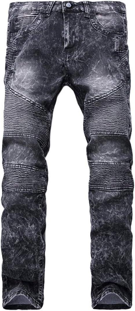 Yuandiann Herren Große Größe Biker Jeans Hose Falten Stretch Slim Fit Gerades Bein Kleiner Fuß Casual Bequem Denim Hosen Bekleidung