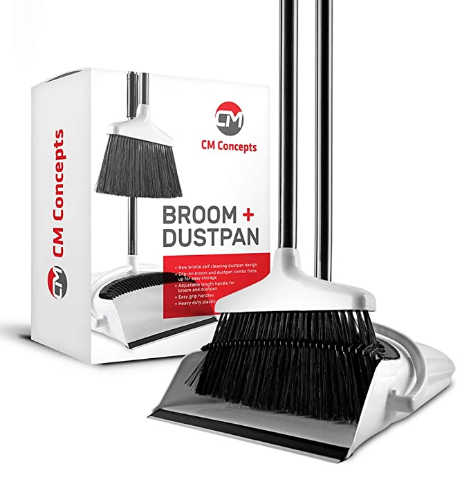 Broom and Dustpan Set with Self Cleaning Bristles, Upright Stand Up Long Handle Floor Brush + Angle Dust Pan Combo for Indoor/Outdoor Sweeping, White