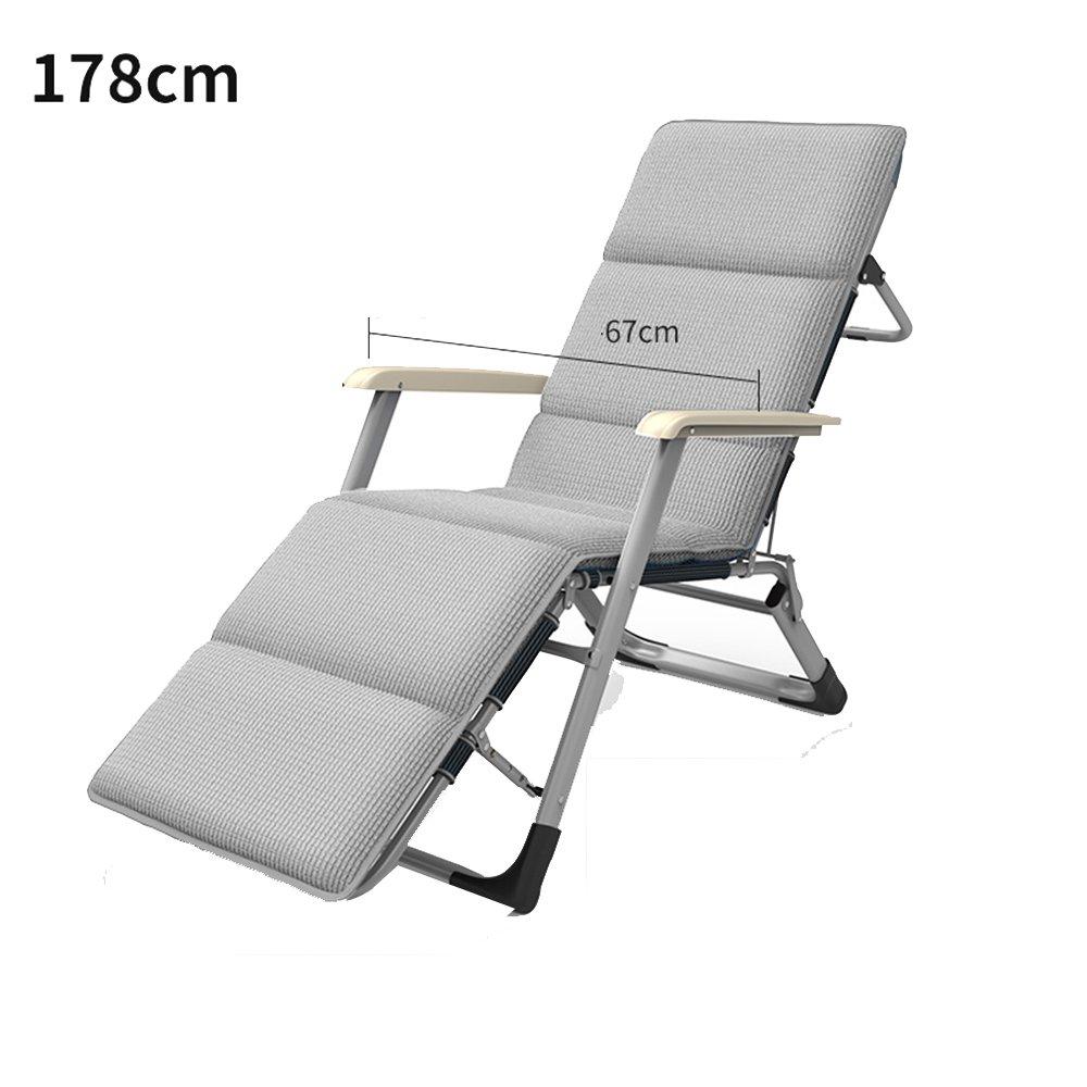 XXHDYR Recliner Klappstuhl Mittagspause Stuhl Siesta Stuhl Stuhl Balkon Liegestuhl Klappstuhl (Farbe   grau, größe   178cm)