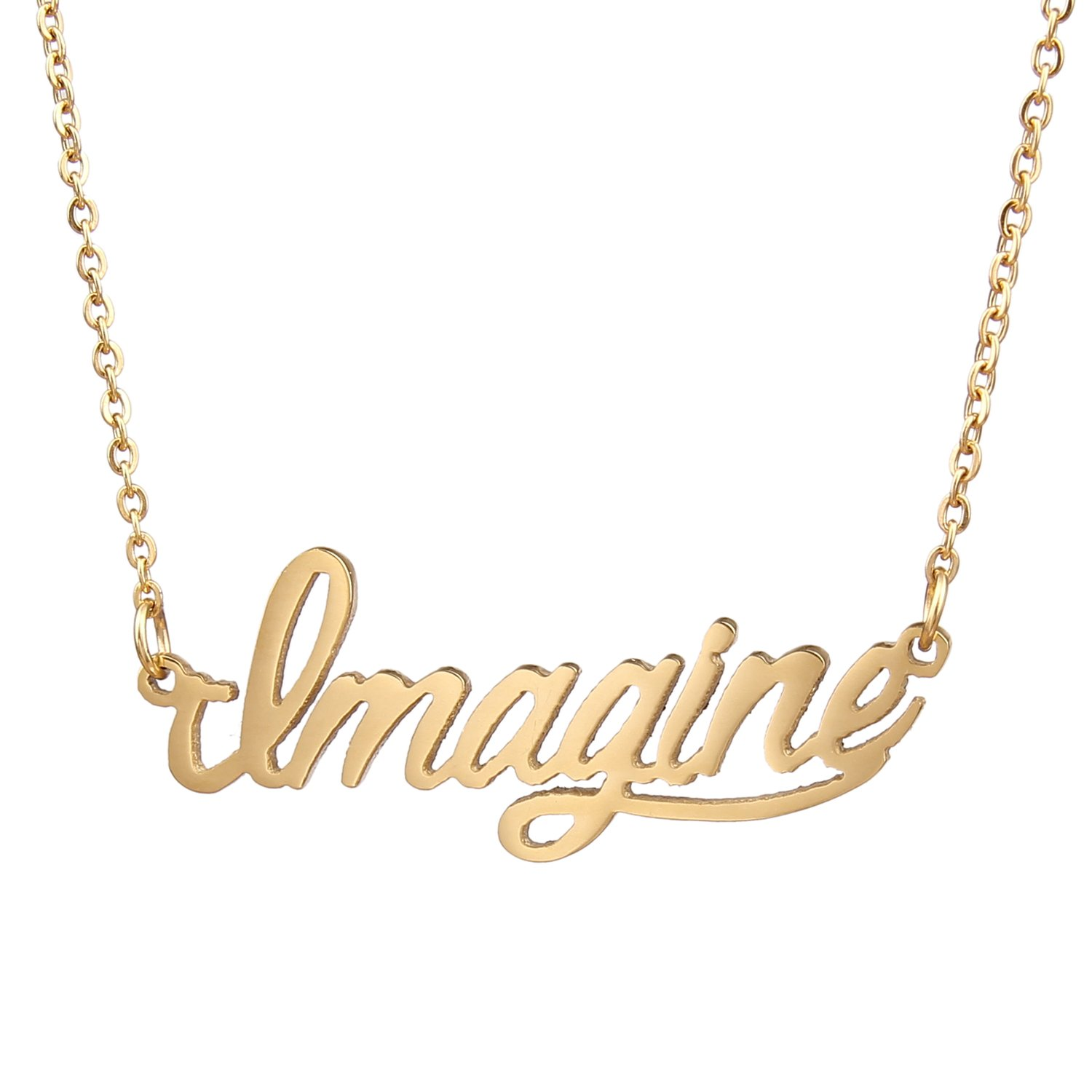 AOLO Name Necklace Initial Power Words Pendant Necklace Jewellerygets WNL-2425 Believe Gold