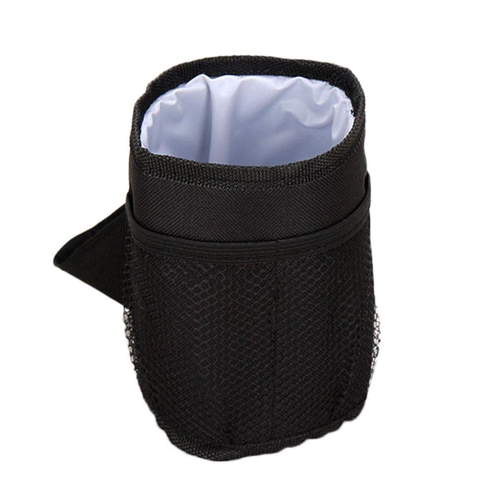 Huangou ❤ Stroller Bottle Bag ❤ 2019 Baby Stroller Bag Mug Cup Holder Bottle Organizer Ornate Best (Black, 3.94'' x 5.51'')