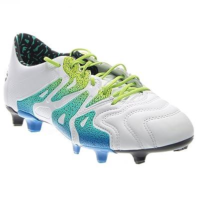 1a0fef9af4594 adidas Men s X 15.1 FG AG Leather White Semi Solar Slime Black Sneaker