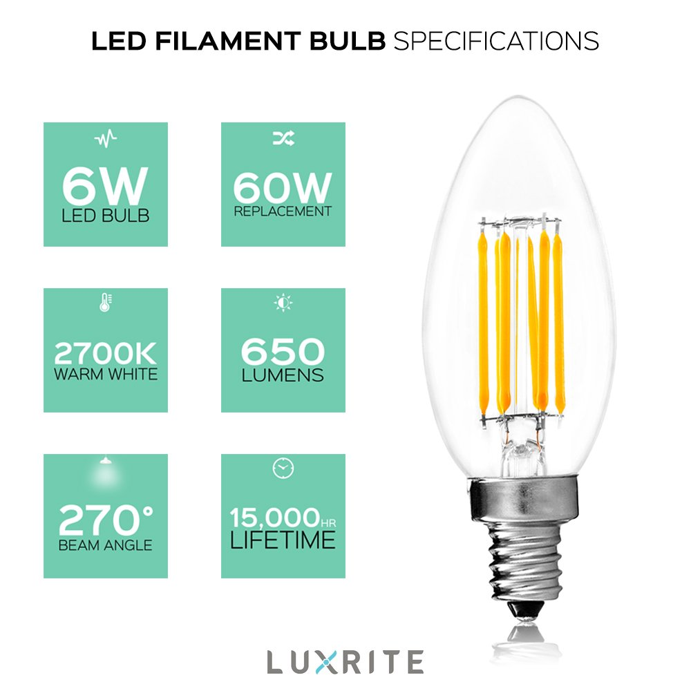 650 Lumens Luxrite E12 LED Filament Bulb Torpedo Tip 4-Pack UL Listed E12 Candelabra Base 5000K Bright White 60W LED Candelabra Bulb 6W