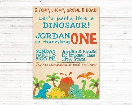 amazon com olga212patrick dinosaur first birthday invitation dino