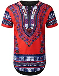 Mens Hipster Hip Hop Dashiki Graphic Longline T-Shirt (Various Styles)