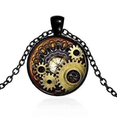 919e87cf13ea8 Amazon.com: Unisex Vintage Jewelry Steampunk Compass Gears Cog ...