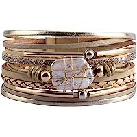 AZORA Womens Leather Cuff Bracelet Baroque Pearl Wrap Bracelets Gorgeous Gold Tube Bangle Handmade Wristbands Jewelry…