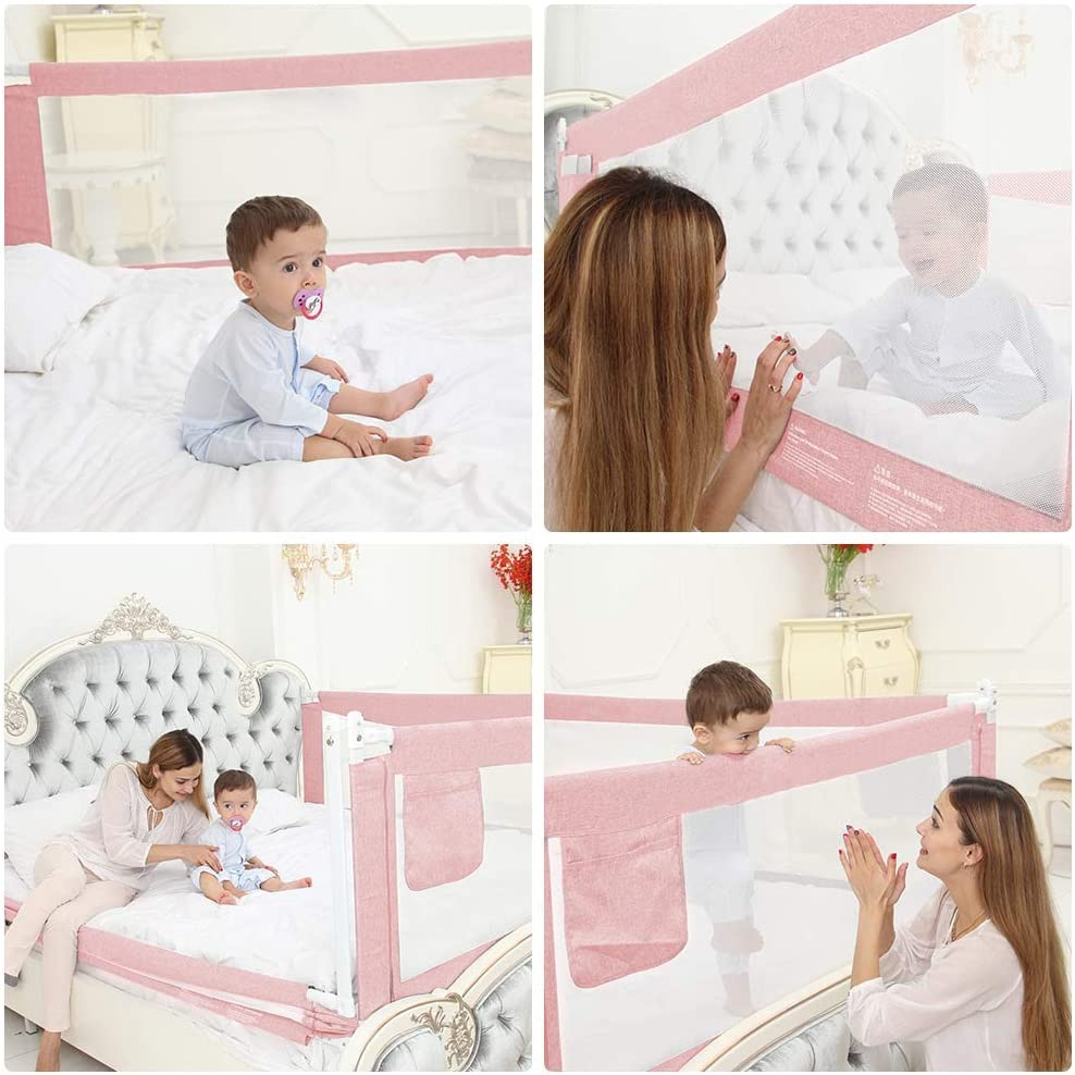 Breathable Mesh Bed Guard Green,120x70cm Safety Bed Barrier Vertical Lifting Design Protection Guards for Toddler Baby and Children LINGKY Baby Bed Rail