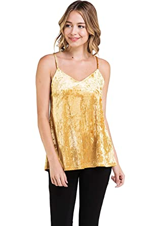 dd7dbb55bcf121 iconic luxe Women s Crushed Velvet Cami Tank Top at Amazon Women s Clothing  store
