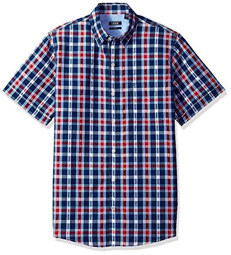 (IZOD Men's Breeze Short Sleeve Button Down Plaid Seersucker Shirt, Estate Blue, Medium)