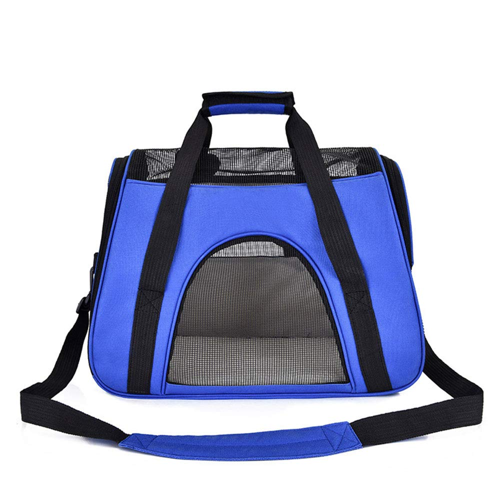 bluee Pet Handbag Dog Cat Out Portable Breathable Travel Bag Anti-Catch Dog Cage,bluee