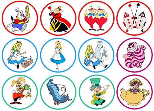 Alice in Wonderland Mad Hatter Edible Circle Cupcake Toppers - Wonderland Circle