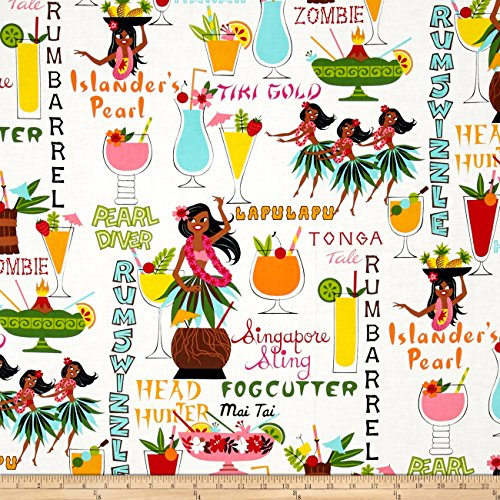 Alexander Henry Tiki Dreams Rum Swizzle Natural Fabric by The Yard