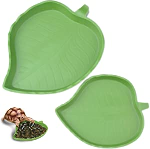 pranovo 2 Pack Leaf Reptile Food and Water Bowl for Pet Aquarium Ornament Terrarium Dish Plate Lizards Tortoises or Small Reptiles