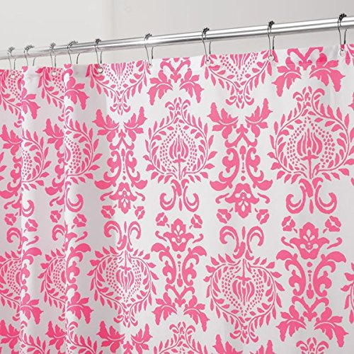 Pink Toile Curtains - mDesign Toile Fabric Shower Curtain - 72